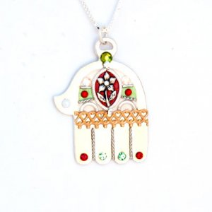 Ester Shahaf Silver Hamsa Necklace with Flower
