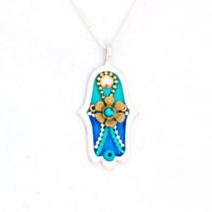 Blue Hamsa necklace with Flower by Ester Shahaf