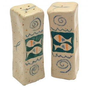 Ceramic Fish Salt & Pepper Shaker Set by Michael Ben Yosef