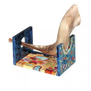 Wood Hand Painted Stand for Small Shofar Ram Horn, Jerusalem Views - Yair Emanuel