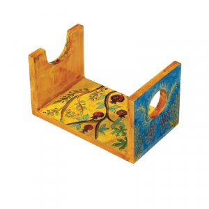 Hand Painted Wood Rams Shofar Stand for Small Horn, Seven Species - Yair Emanuel