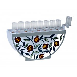 Menorah for Candles with Decorative Arc Front - Colorful Pomegranates by Dorit Judaica