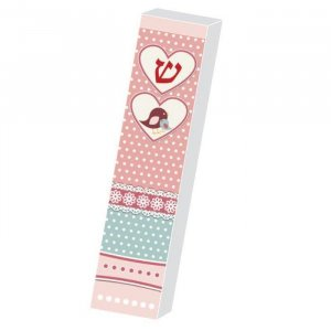 Girls Lucite Mezuzah Case Pink Print - Hearts and Chicks by Dorit Judaica