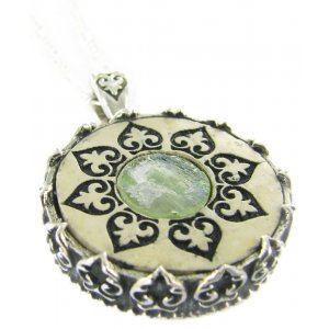 Roman Glass and Jerusalem Stone Necklace