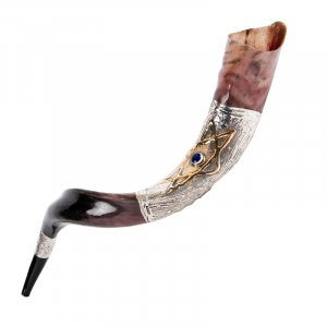 Sterling Silver Decorated Yemenite Shofar - Blue Stone