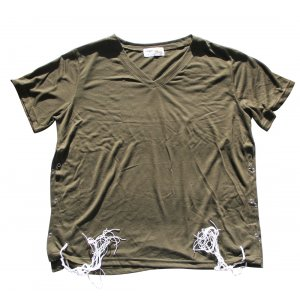 Khaki Adult Size T-Shirt with Tzitzit Attached