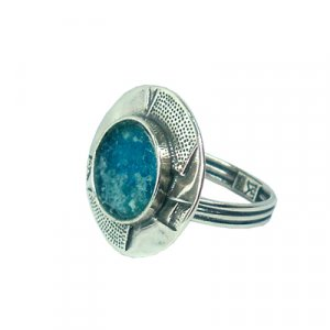 Lakes and Mountains Design Roman Glass Ring
