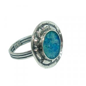 Handworked Silver and Roman Glass Ring