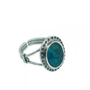 Oval Roman Glass Sterling Silver Adjustable Ring