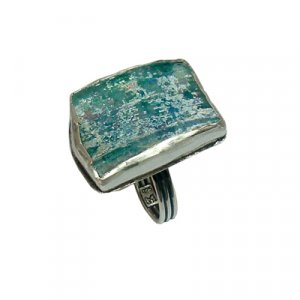 Roman Glass Silver Adjustable Ring