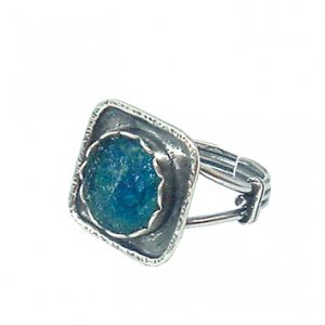 Circle in a Square Adjustable Roman Glass Silver Ring