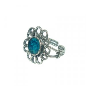 Adjustable Ring with Roman Glass Flower