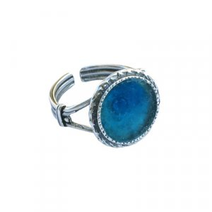 Classic Roman Glass and Silver Adjustable Ring