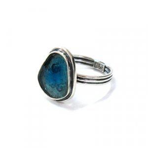 Roman Glass and Silver Adjustable Ring