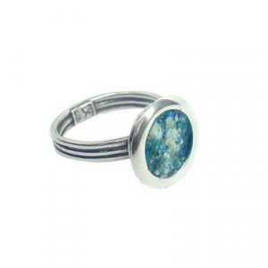 Adjustable Silver Ring with Roman Glass