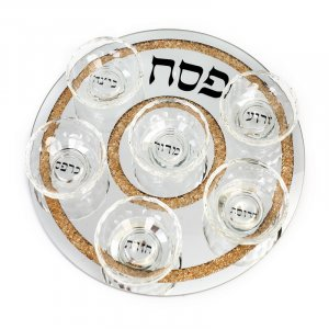 Pesach Seder Plate in Crystal with crushed glass gold border