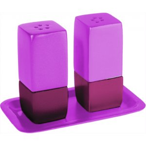 Anodized Aluminum Pillar 3-Piece Salt Pepper & Tray Set by Yair Emanuel