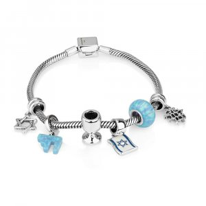 6 Judaica Charm Silver Bracelet - Shades of Blue