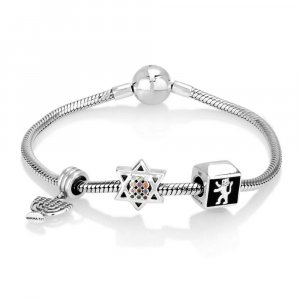 Silver Charm Bracelet with Menorah, Lion of Judah and Star of David