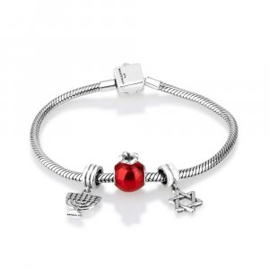 Silver Charm Bracelet with Menorah, Pomegranate and Star of David