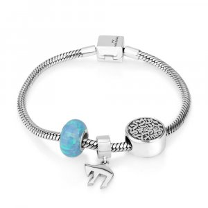 Silver Charm Bracelet with Chai, Opal and Shema