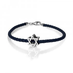 Silver Star of David Charm on Leather Bracelet