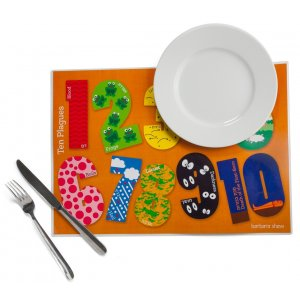 Set of 4 Placemats for Passover Seder - 10 Plagues