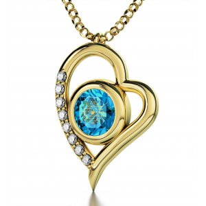 Gold I Love You Colorful Swarovski Heart Necklace by Nano Gold