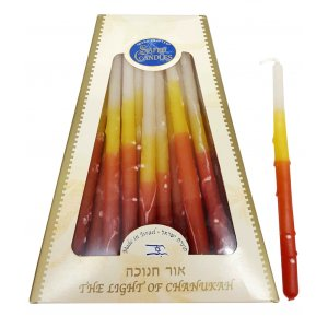 Bright Flame Colors Safed Dripless Chanukah Candles