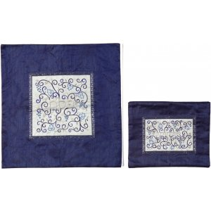 Embroidered Twirls Matzah & Afikoman Set, Royal Blue - Yair Emanuel