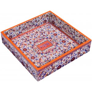 Hand Painted Wood Matzah Tray Floral, Orange and Blue - Yair Emanuel