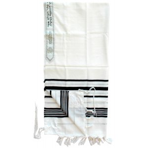 Talitania Wool Tallit - Black and Silver Stripes