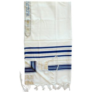Wool Tallit Prayer Shawl with Blue & Gold Stripes by Talitnia