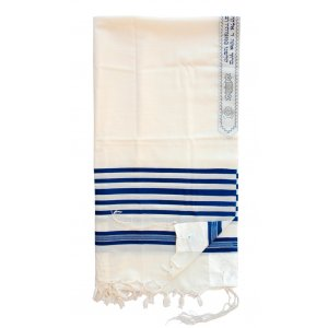 Wool Tallit Prayer Shawl with Blue & White Stripes by Talitnia