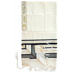 Talitania Wool Tallit - Black and Gold Stripes