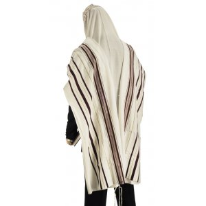 Talitania Wool Tallit - Maroon and Gold Stripes