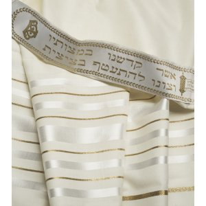 Talitania Wool Tallit - White and Gold Stripes
