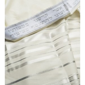 Talitania Wool Tallit - White and Silver Stripes