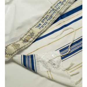 Talitania Acrylic Tallit - Blue and Gold Stripes