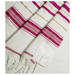 Talitania Acrylic Tallit - Dark Pink and Gold Stripes