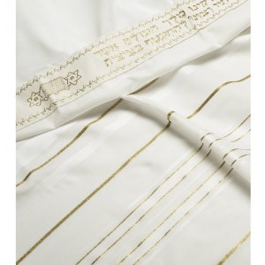 Talitania Acrylic Tallit - White and Gold Stripes