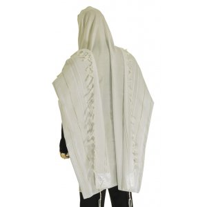 Talitania Acrylic Tallit - White and Silver Stripes