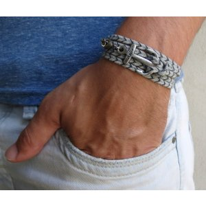 Gray Fabric Triple Wrap Men's Bracelet with Silver Plated Anchor