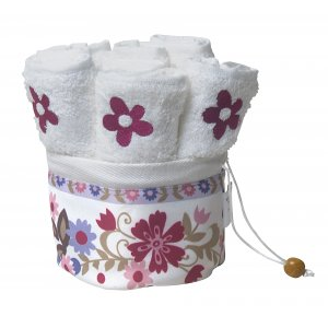 Six Flower Hand Washing Towels in Holder by Dorit Judaica
