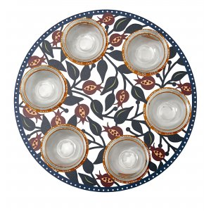 Laser Cut Seder Plate Colorful Pomegranates - Glass Bowls by Dorit Judaica