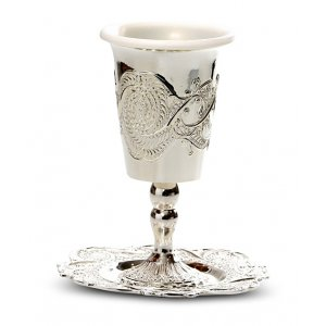 Silver Plated Kiddush Cup on Stem with Plastic Insert and Tray - Ornate Design
