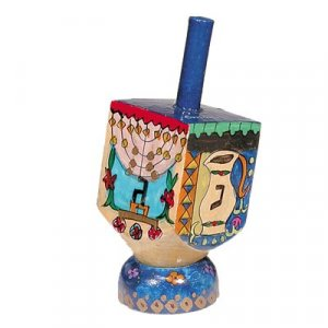 Hand Painted Wood Dreidel with Stand, Hanukkah Images Small - Yair Emanuel
