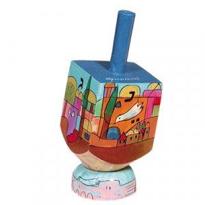 Hand Painted Wood Dreidel on Stand with Jerusalem Dove of Peace Small - Yair Emanuel