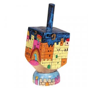 Hand Painted Wood Dreidel on Stand with Jerusalem Views Small - Yair Emanuel