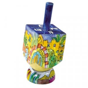 Hand Painted Wood Dreidel on Stand with Jerusalem of Gold Images Small - Yair Emanuel